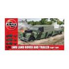 1/76  Long Wheelbase Landrover (Soft Top) & GS Trailer
