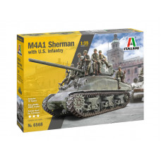 Italeri  1/35 M4A1 Sherman with US Infantry - Super Decal Sheet Included