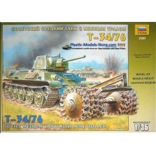 1/35th SOVIET T-34/76 TANK WITH MINE ROLLER MODEL Military Kit